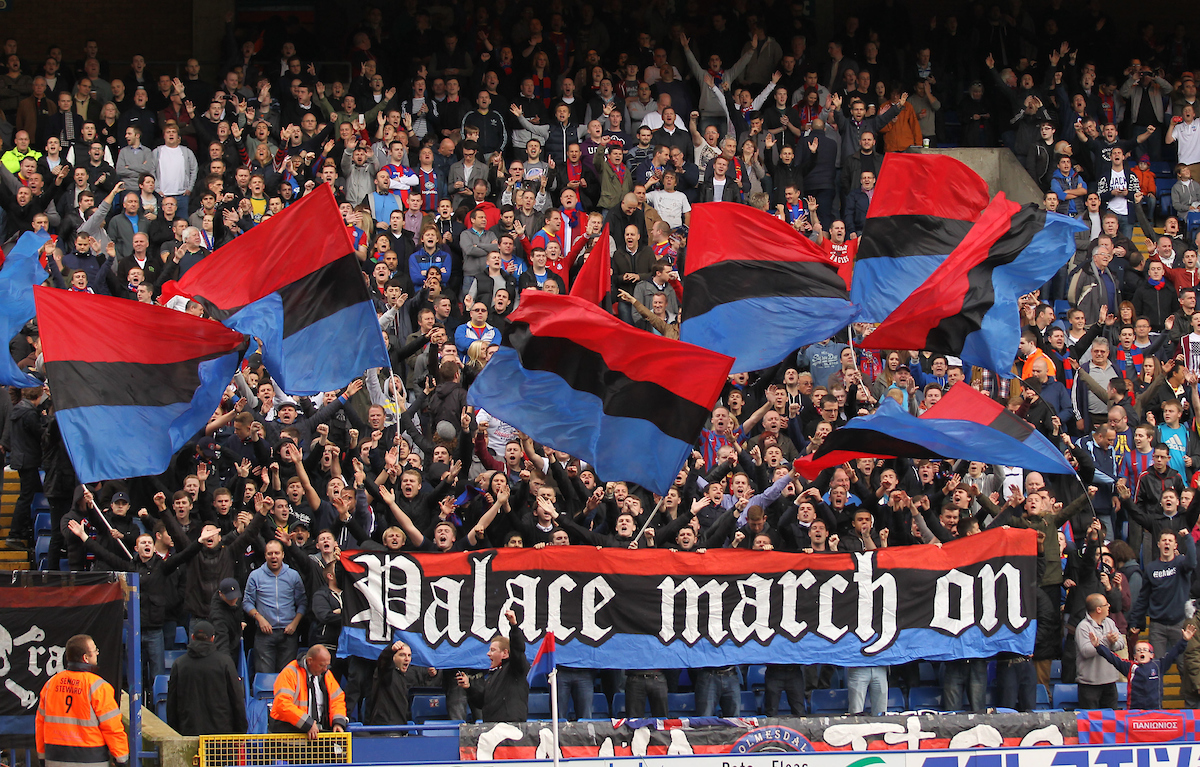 Picture by Daniel Weir/Focus Images Ltd +44 7982 911743.20/10/2012.Crystal Palace supporters the Holmesdale Fanatics hold a banner in the stands at kick off against Millwall during the npower Championship match at Selhurst Park, London.