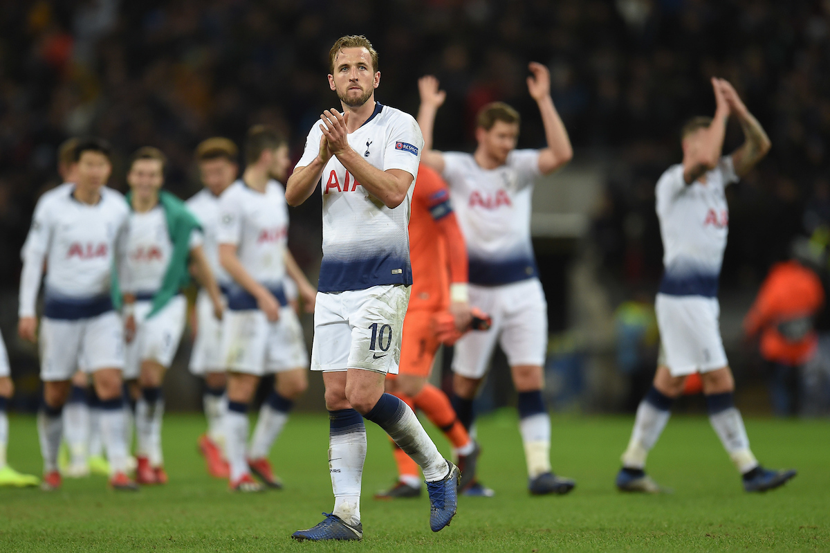 Harry Kane of Tottenham Hotspur applauds the fans at Full Time of the UEFA Champions League match at Wembley Stadium, London Picture by Martyn Haworth/Focus Images Ltd 07463250714 28/11/2018
