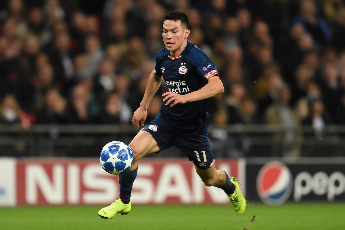 Hirving Lozano of PSV Eindhoven during the UEFA Champions League match at Wembley Stadium, London Picture by Martyn Haworth/Focus Images Ltd 07463250714 06/11/2018