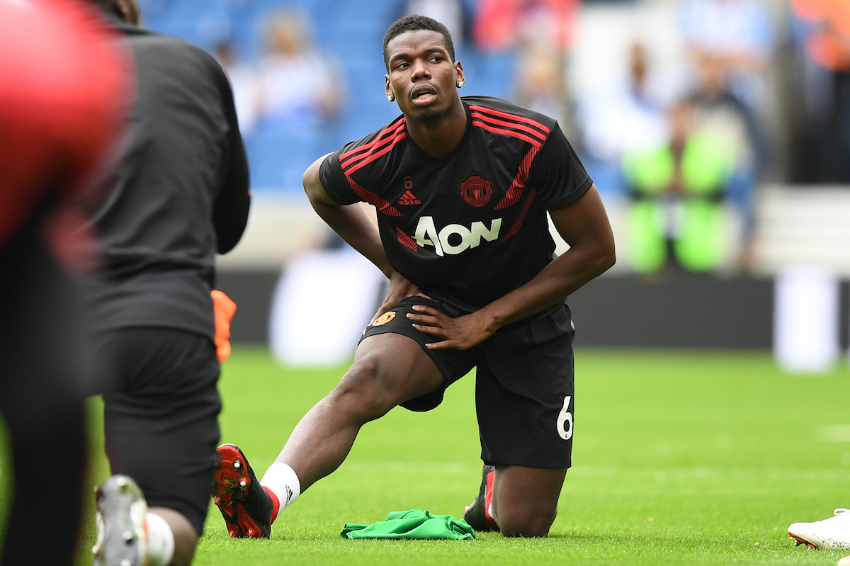 Paul Pogba of Manchester United warming up before the Premier League match at the American Express Community Stadium, Brighton and Hove Picture by Simon Dael/Focus Images Ltd 07866 555979 19/08/2018
