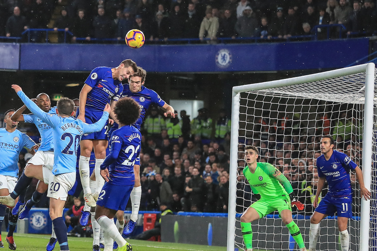 Cesar Azpilicueta and Marcos Alonso of Chelsea helps to clear the box during the Premier League match at Stamford Bridge, London Picture by Romena Fogliati/Focus Images Ltd 07576143919 08/12/2018