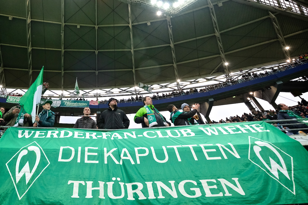 General view of the stadium showing Werder Bremen fans pictured ahead of the Bundesliga match at Red Bull Arena, Leipzig Picture by Kristian Kane/Focus Images Ltd +44 7814 482222 25/11/2017