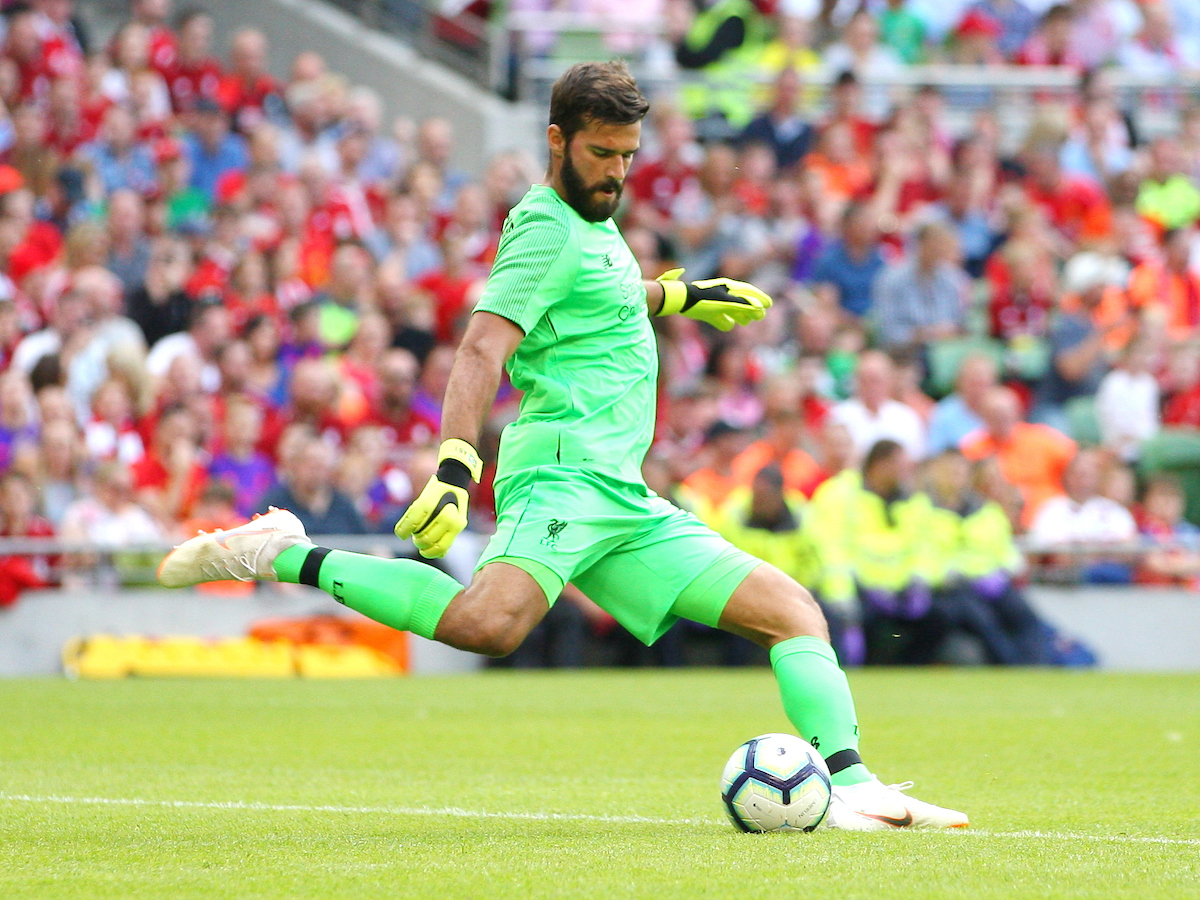 Alisson Becker of Liverpool during the friendly match at the Aviva Stadium, Dublin Picture by Yannis Halas/Focus Images Ltd +353 8725 82019 04/08/2018