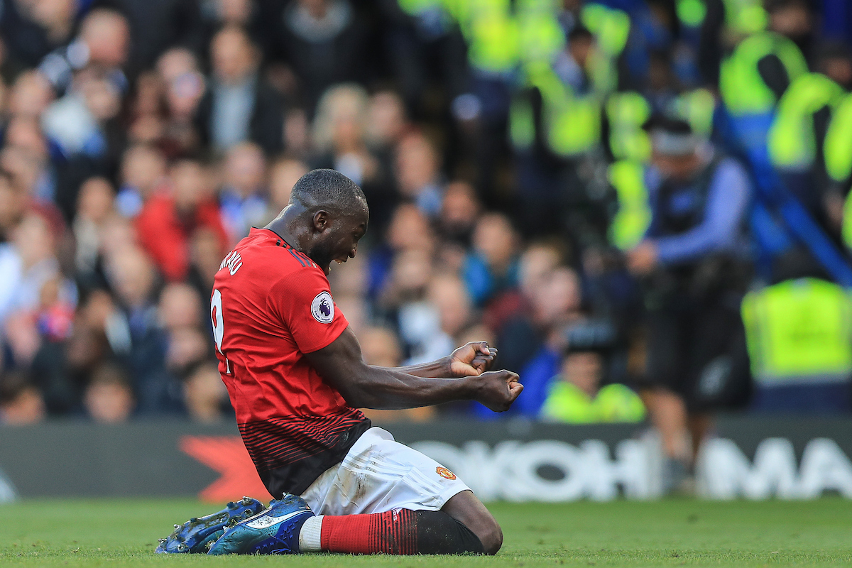 Romelu Lukaku of Manchester United celebrates after team mate Anthony Martial scores their second goal  against Chelsea during the Premier League match at Stamford Bridge, London Picture by Romena Fogliati/Focus Images Ltd 07576143919 20/10/2018