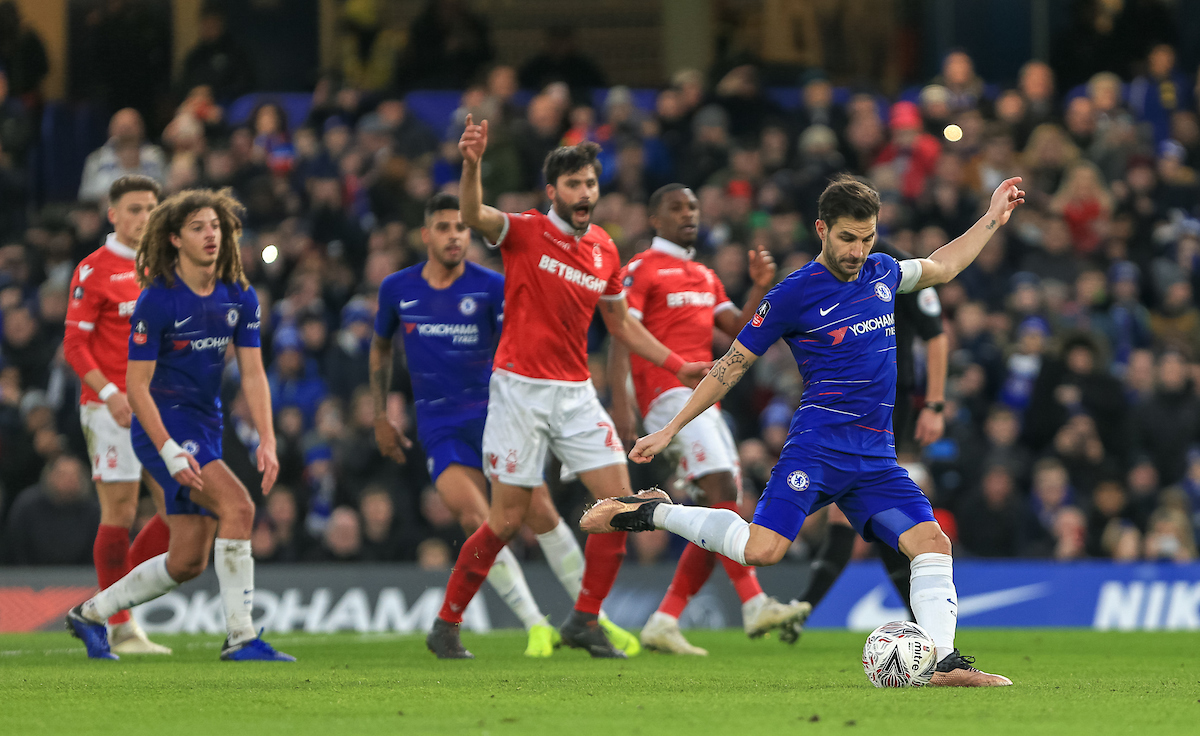 Cesc Fàbregas of Chelsea takes a penalty against Nottingham Forest during the FA Cup match at Stamford Bridge, London Picture by Steve O'Sullivan/Focus Images Ltd 07572544769 05/01/2019