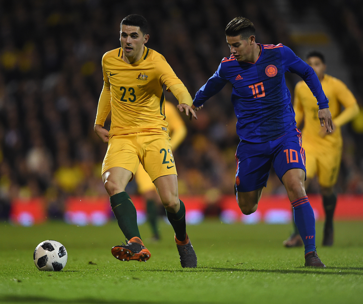 Tom Rogic of Australia and James Rodriguez battle for the ball during the International Friendly match at Craven Cottage, London Picture by Daniel Hambury/Focus Images Ltd 07813022858 27/03/2018