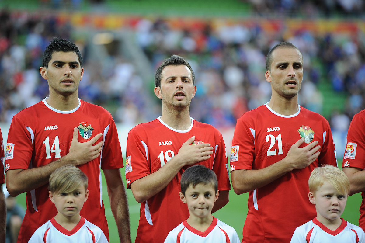 Jordan players sings the national anthem during the AFC Asian Cup match at Melbourne Rectangular Stadium (AAMI Stadium) Melbourne Picture by Frank Khamees/Focus Images Ltd +61 431 119 134 20/01/2015