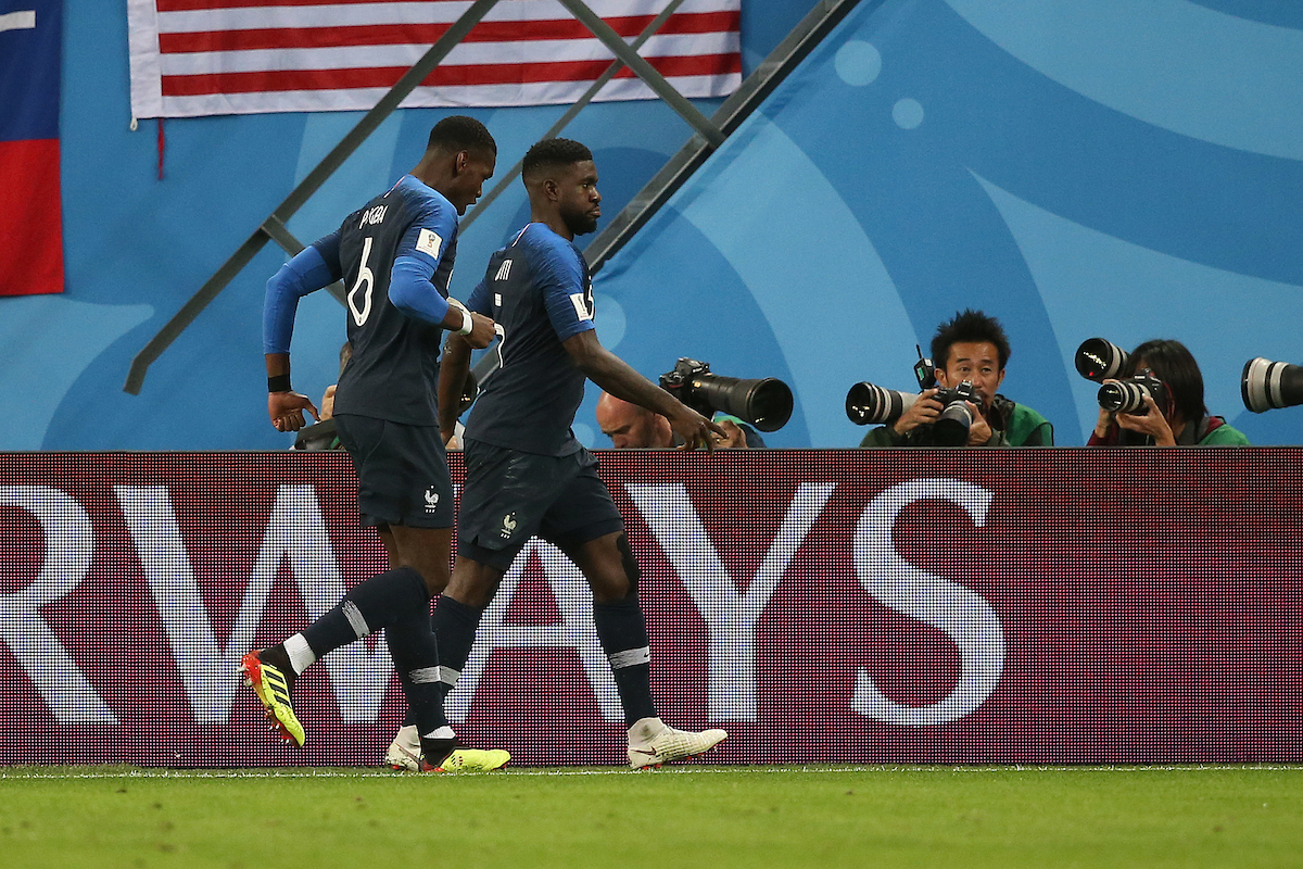 Samuel Umtiti of France celebrates scoring his side's 1st goal during the 2018 FIFA World Cup match at St Petersburg Stadium, St Petersburg Picture by Paul Chesterton/Focus Images Ltd +44 7904 640267 10/07/2018