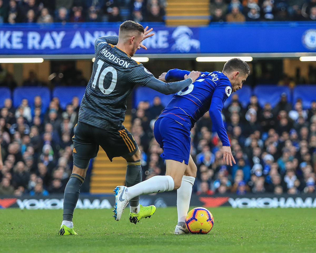 James Maddison of Leicester City pushes Jorginho of Chelsea during the Premier League match at Stamford Bridge, London Picture by Romena Fogliati/Focus Images Ltd 07576143919 22/12/2018