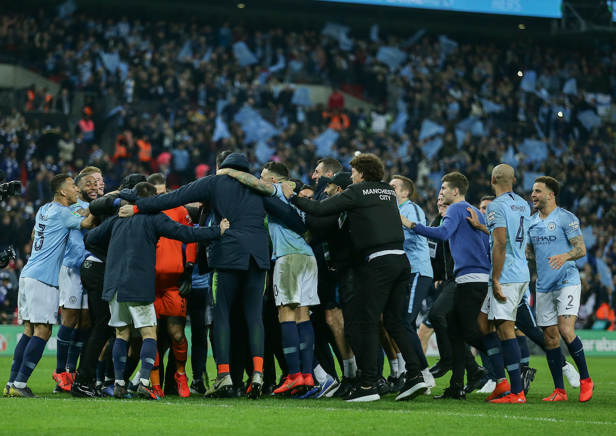 Manchester City players and staff celebrate their win against Cheslsea in the Carabao Cup Final at Wembley Stadium, London Picture by Steve O'Sullivan/Focus Images Ltd 07572544769 24/02/2019