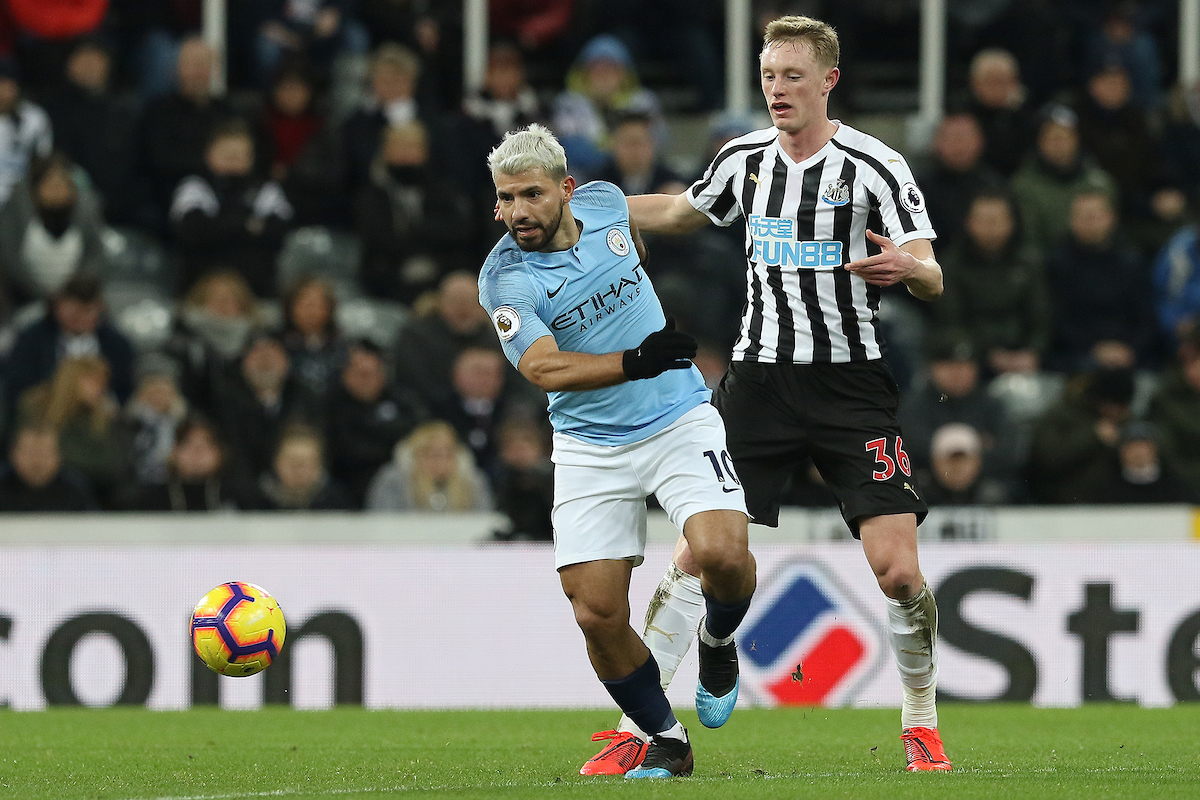Sergio Aguero of Manchester City pushes Sean Longstaff of Newcastle United away during the Premier League match at St. James's Park, Newcastle Picture by Robert Smith/Focus Images Ltd 07837 882029 29/01/2019