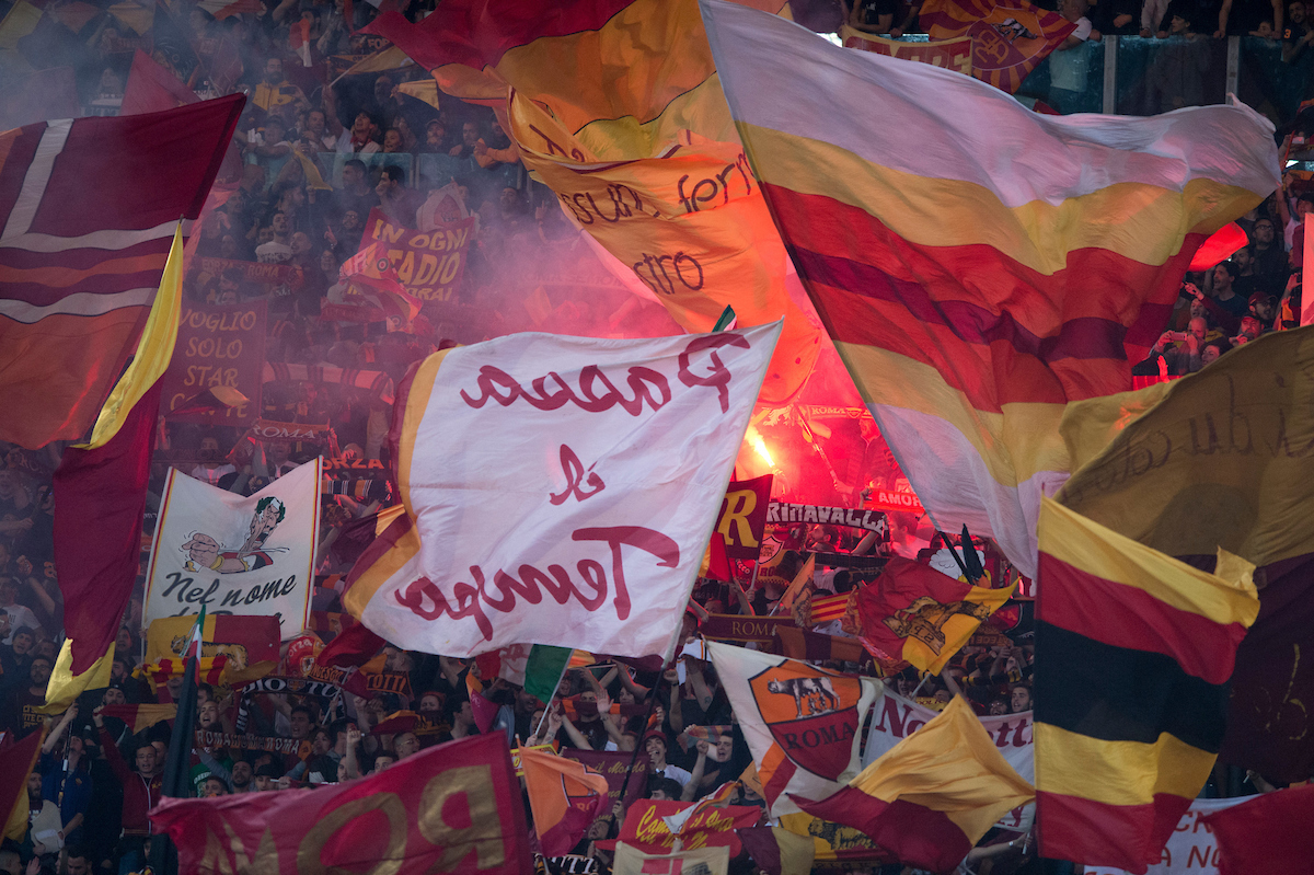 AS Roma fans wave flags before the UEFA Champions League Semi-Final match at the Stadio Olimpico, Rome Picture by Russell Hart/Focus Images Ltd 07791 688 420 02/05/2018