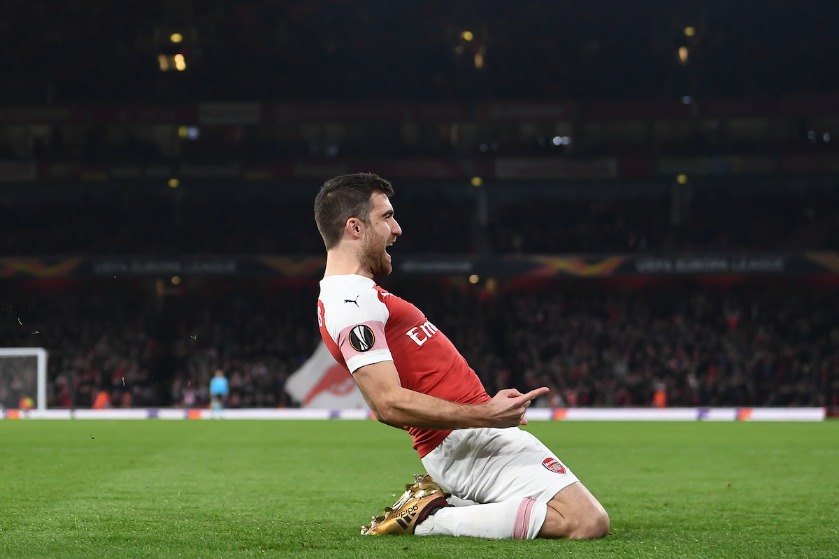 Sokratis Papastathopoulos of Arsenal scores to make it 3:0 on the night during the UEFA Europa League match at the Emirates Stadium, London Picture by Martyn Haworth/Focus Images Ltd 07463250714 21/02/2019