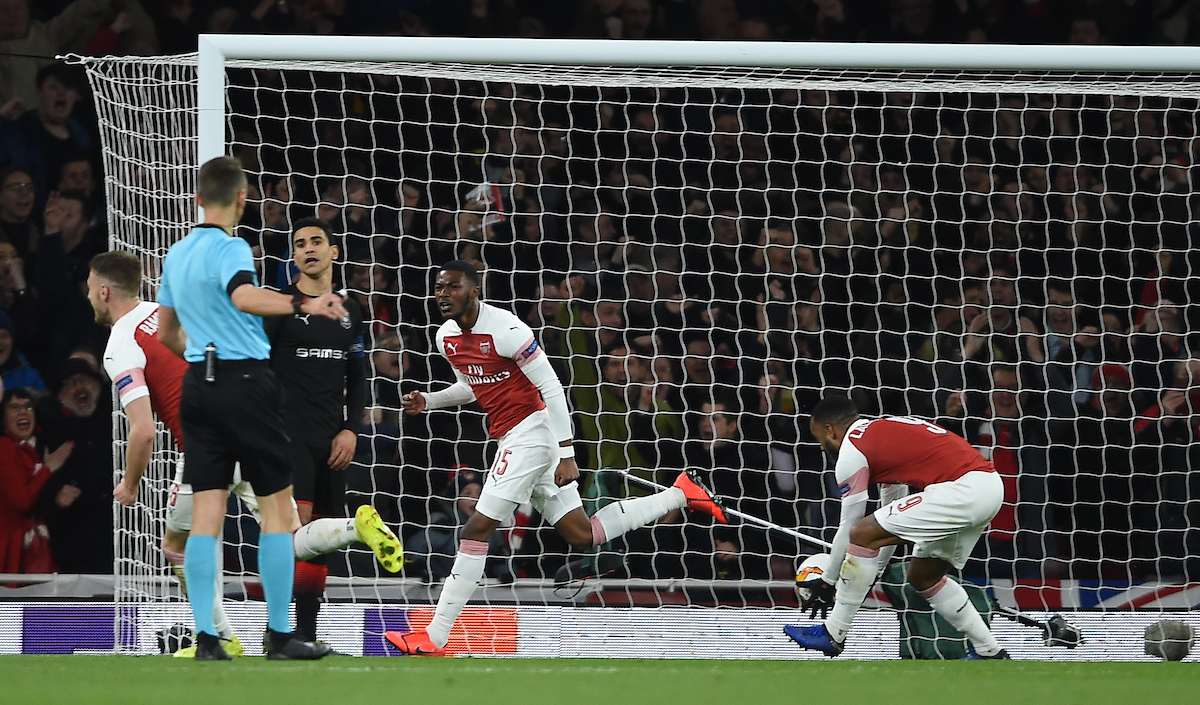 Arsenal's Ainsley Maitland-Niles celebrates scoring their second goal during the UEFA Europa League match at the Emirates Stadium, London Picture by Daniel Hambury/Focus Images Ltd 07813022858 14/03/2019