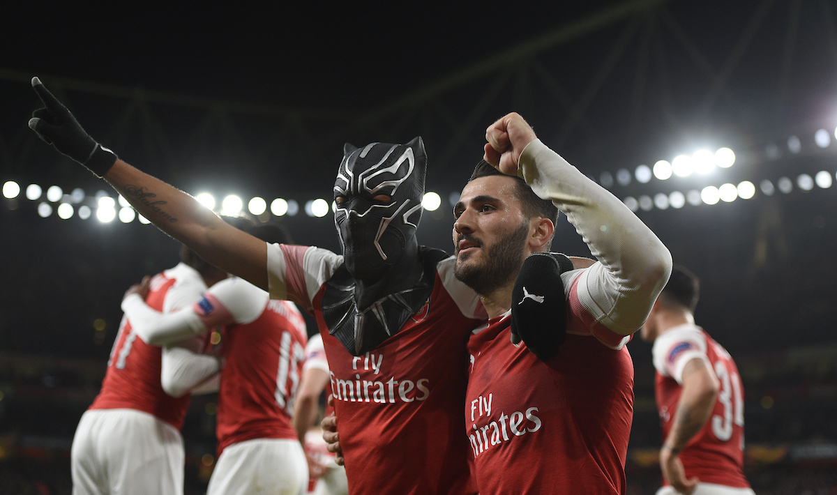 Arsenal's Pierre-Emerick Aubameyang celebrates scoring their third goal with team mate Sead Kolasinac during the UEFA Europa League match at the Emirates Stadium, London Picture by Daniel Hambury/Focus Images Ltd 07813022858 14/03/2019