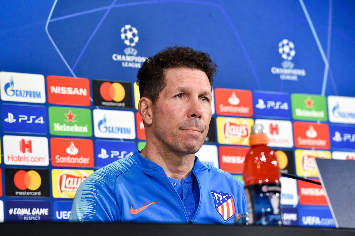 Diego Simeone, head coach during the Atletico Madrid press conference at Juventus Stadium, Turin Picture by Antonio Polia/Focus Images Ltd +393473147935 11/03/2019