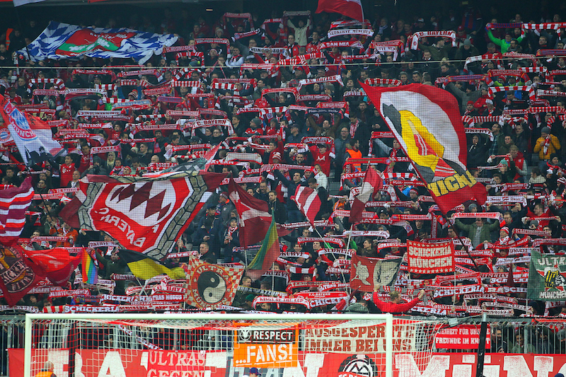 Bayern Munich fans during the UEFA Champions League match at Allianz Arena, Munich Picture by Yannis Halas/Focus Images Ltd +353 8725 82019 15/02/2017