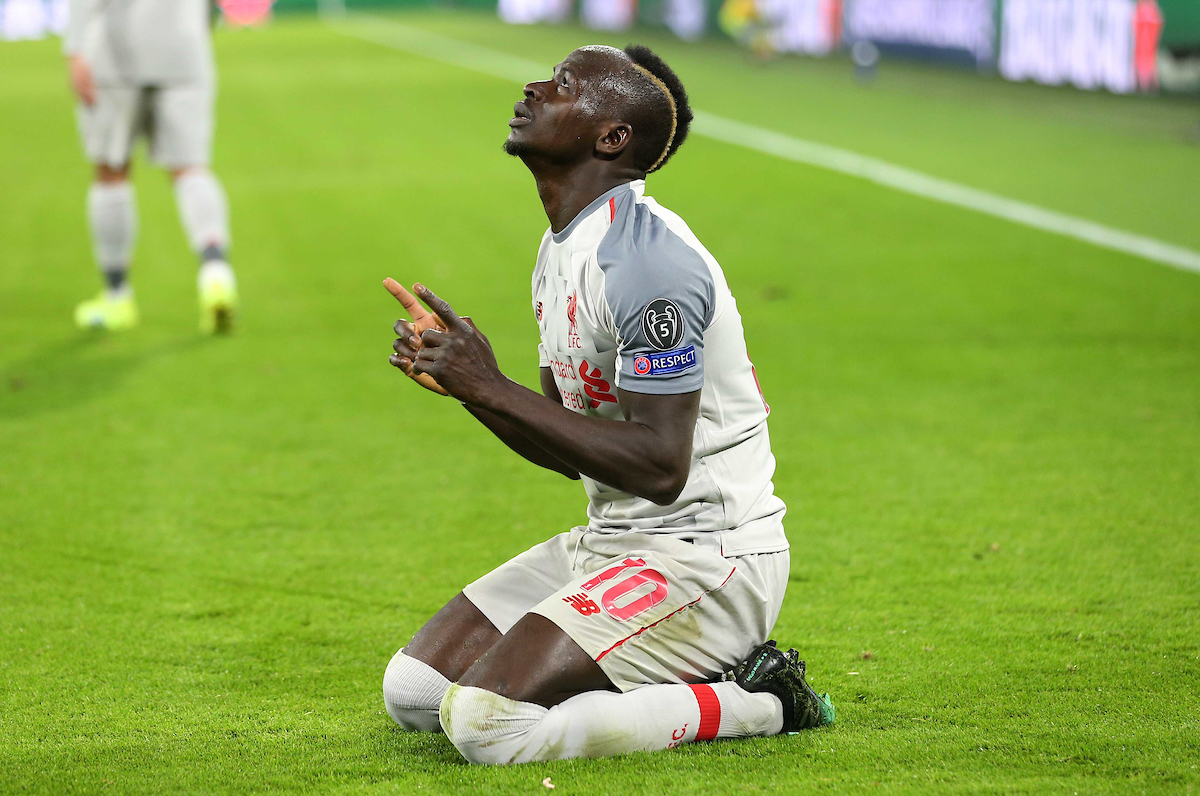 Sadio Mane of Liverpool celebrates scoring their first goal during the UEFA Champions League match at Allianz Arena, Munich Picture by Focus Images/Focus Images Ltd 07814 482222 13/03/2019