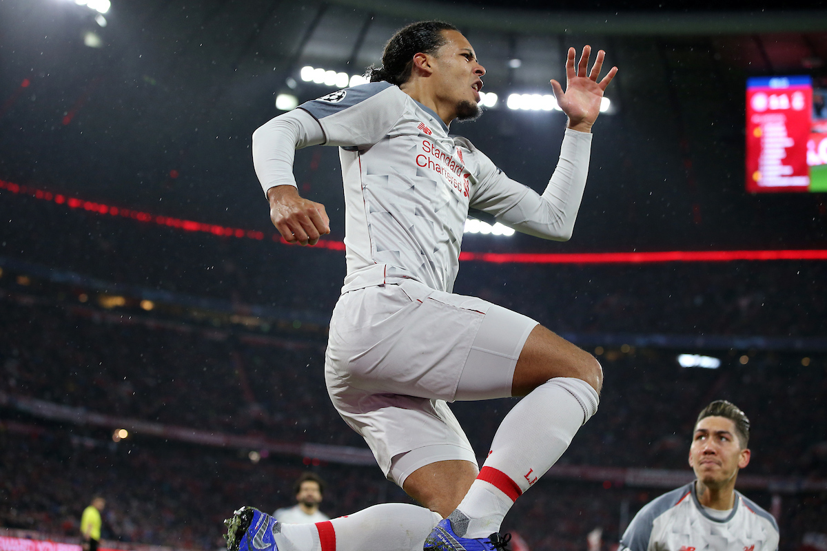 Virgil van Dijk of Liverpool celebrates scoring their second goal during the UEFA Champions League match at Allianz Arena, Munich Picture by Focus Images/Focus Images Ltd 07814 482222 13/03/2019