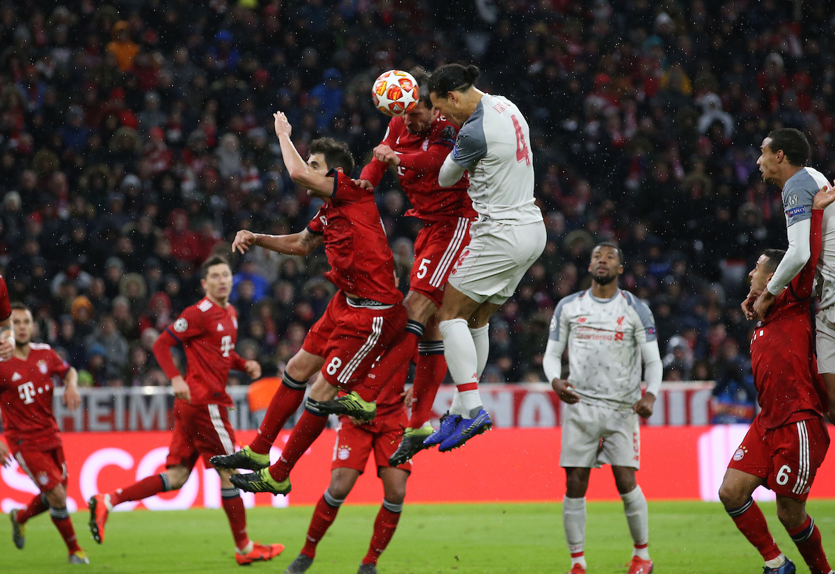 Virgil van Dijk of Liverpool scores their second goal during the UEFA Champions League match at Allianz Arena, Munich Picture by Focus Images/Focus Images Ltd 07814 482222 13/03/2019