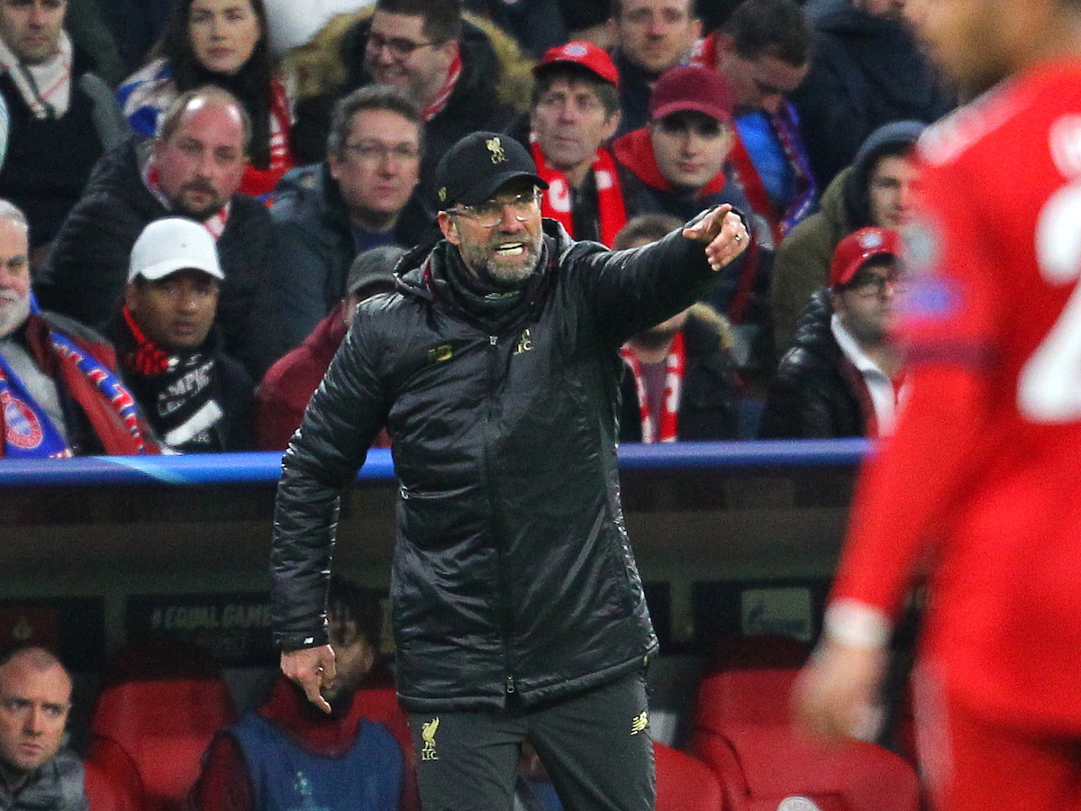 Jurgen Klopp of Liverpool during the UEFA Champions League match at Allianz Arena, Munich Picture by Yannis Halas/Focus Images Ltd +353 8725 82019 13/03/2019