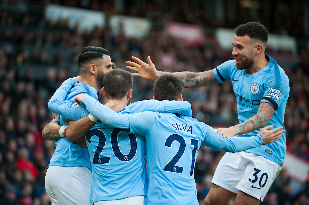 Manchester City celebrate their goal during the Premier League match at the Vitality Stadium, Bournemouth Picture by Daniel Murphy/Focus Images Ltd 07432 188161 02/03/2019