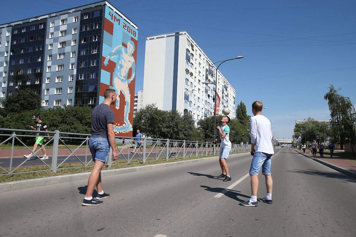 Local lads play football in the street in Kaliningrad before the 2018 FIFA World Cup match at Kaliningrad Stadium, Kaliningrad Picture by Paul Chesterton/Focus Images Ltd +44 7904 640267 28/06/2018