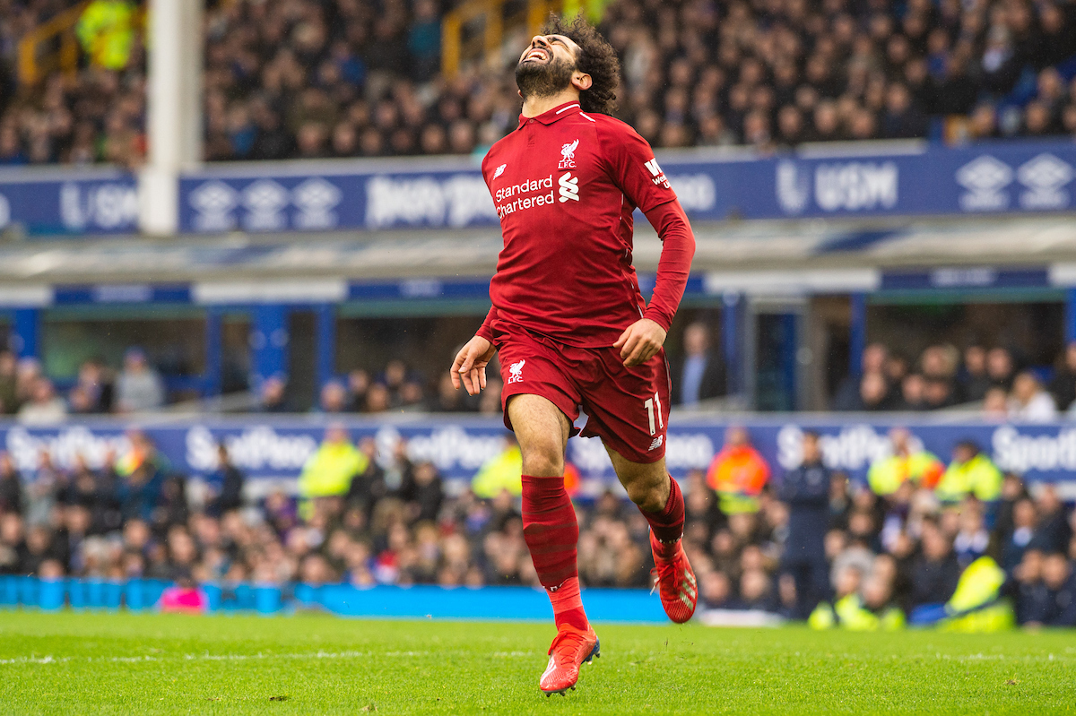 Mohamed Salah of Liverpool following a missed goal opportunity during the Premier League match at Goodison Park, Liverpool Picture by Matt Wilkinson/Focus Images Ltd 07814 960751 03/03/2019