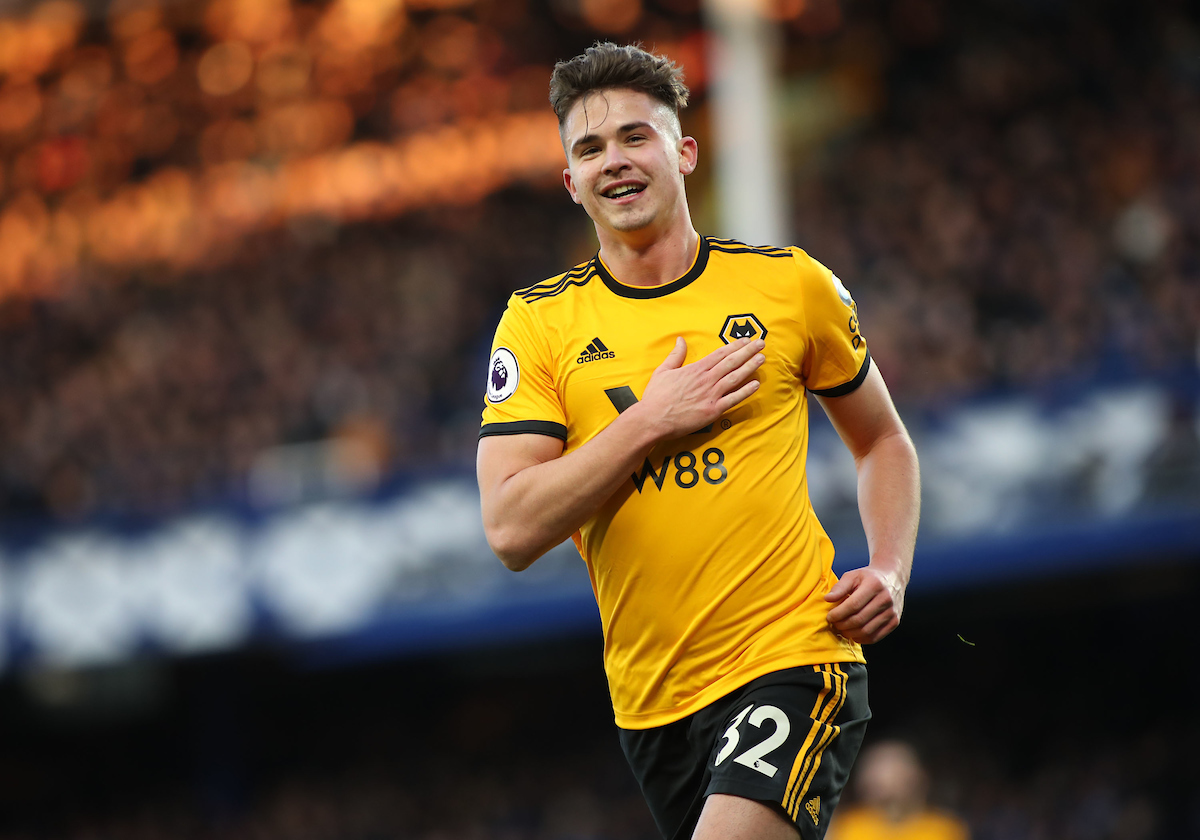 Leander Dendoncker of Wolverhampton Wanderers celebrates scoring the third goal against Everton during the Premier League match at Goodison Park, Liverpool. Picture by Michael Sedgwick/Focus Images Ltd +44 7900 363072 02/02/2019