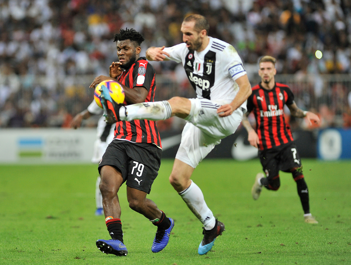 Giorgio Chiellini of Juventus and Franck Kessie of AC Milan during the Italian Super Cup match at King Abdullah Sports City, Jeddah Picture by Stefano Gnech/Focus Images Ltd +39 333 1641678 16/01/2019