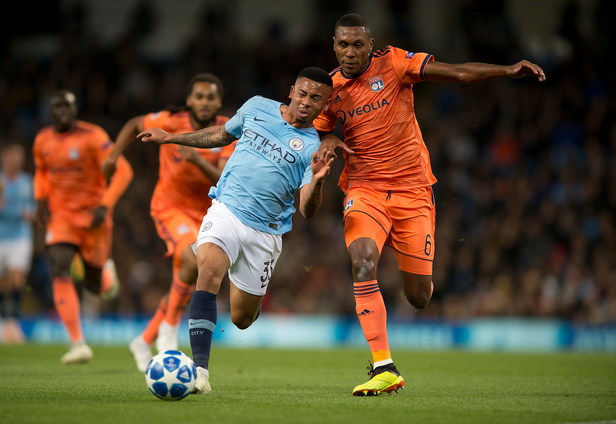 Gabriel Jesus of Manchester City (left) gets to the ball ahead of Marcelo of Lyon during the UEFA Champions League match at the Etihad Stadium, Manchester Picture by Russell Hart/Focus Images Ltd 07791 688 420 19/09/2018