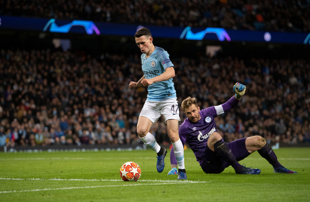 Phil Foden of Manchester City goes round Schalke goalkeeper Ralf Fahrmann before making it 6-0 during the UEFA Champions League match at the Etihad Stadium, Manchester Picture by Russell Hart/Focus Images Ltd 07791 688 420 12/03/2019