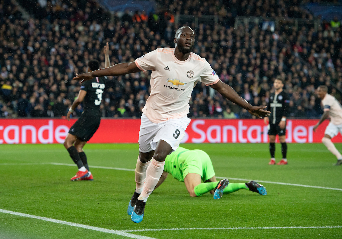 Romelu Lukaku of Manchester United celebrates after scoring his team's 2nd goal to make it 2-1 during the UEFA Champions League match at Parc des Princes, Paris Picture by Russell Hart/Focus Images Ltd 07791 688 420 06/03/2019