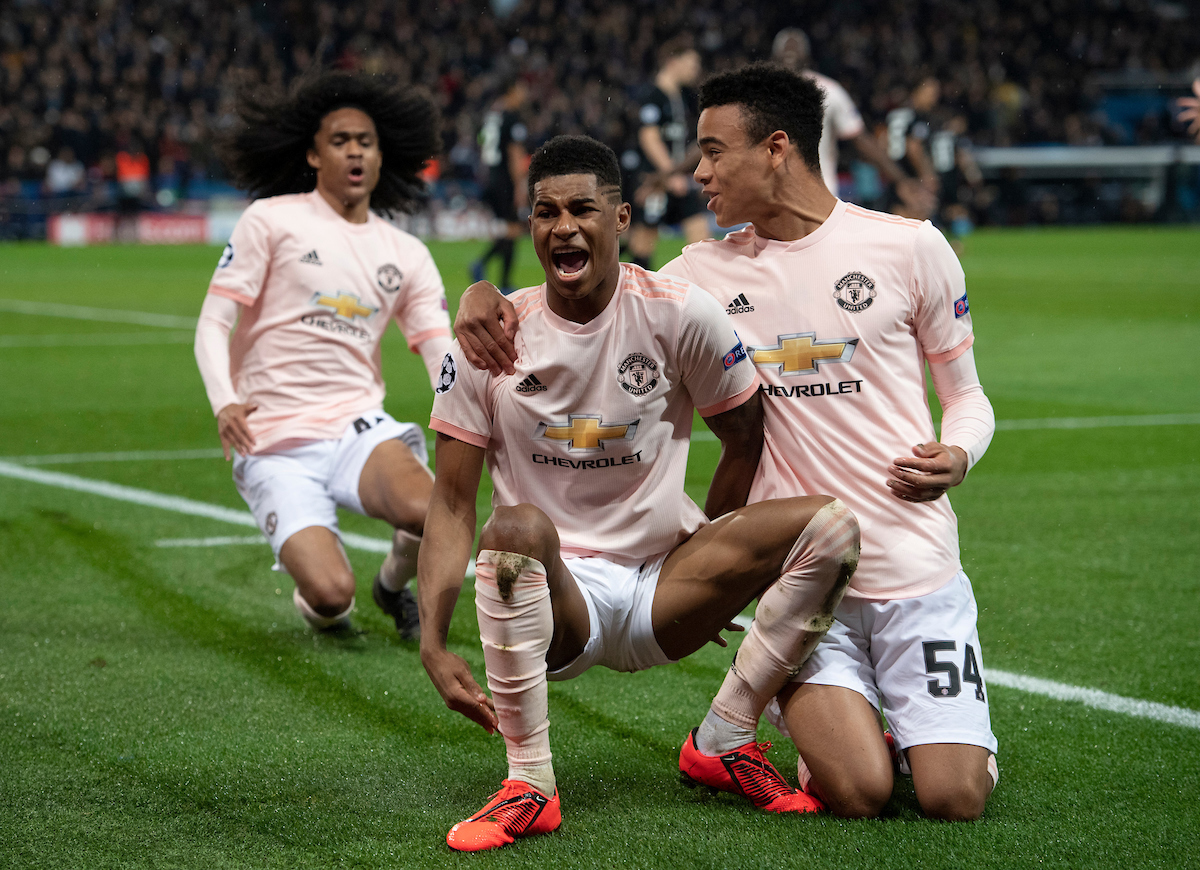 Marcus Rashford of Manchester United celebrates after scoring his team's 3rd goal to make it 3-1 during the UEFA Champions League match at Parc des Princes, Paris Picture by Russell Hart/Focus Images Ltd 07791 688 420 06/03/2019