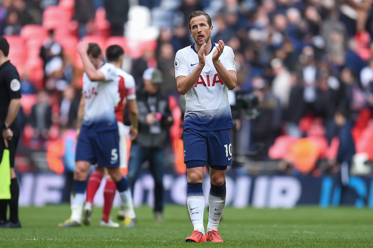 Harry Kane of Tottenham Hotspur applauds the fans at full time during the Premier League match at Wembley Stadium, London Picture by Martyn Haworth/Focus Images Ltd 07463250714 02/03/2019