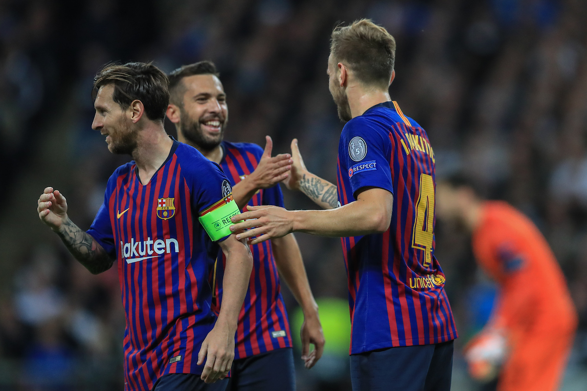Ivan Rakitic of FC Barcelona celebrates scoring their second goal with team mates during the UEFA Champions League match against Tottenham Hotspur at Wembley Stadium, London Picture by Romena Fogliati/Focus Images Ltd 07576143919 03/10/2018