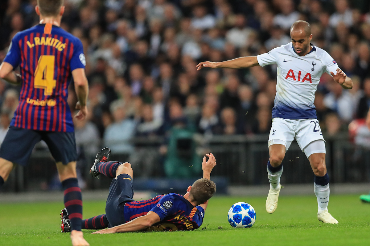Lucas Moura of Tottenham Hotspur and Arthur Melo of FC Barcelona during the UEFA Champions League match at Wembley Stadium, London  Picture by Romena Fogliati/Focus Images Ltd 07576143919 03/10/2018