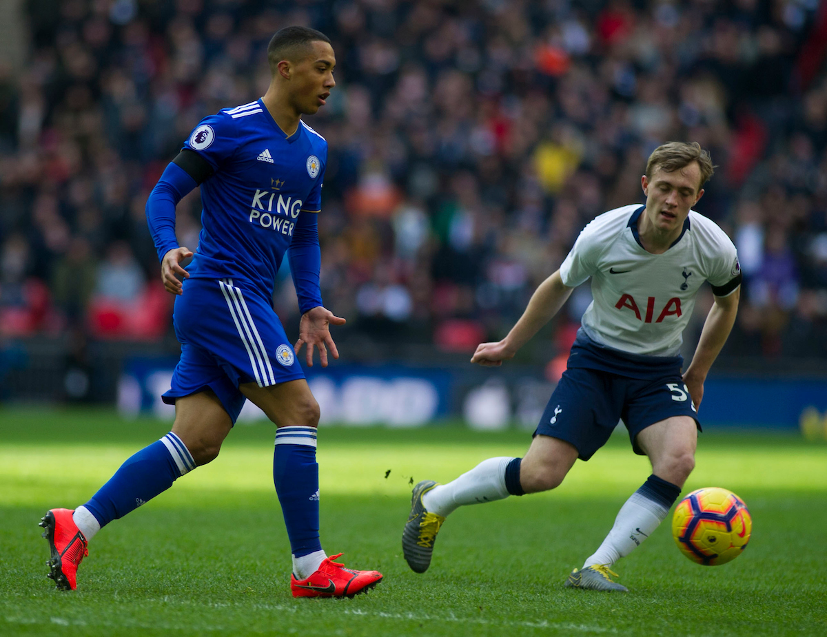 Youri Tielemans of Leicester City makes a pass during the Premier League match at Wembley Stadium, London Picture by Daniel Murphy/Focus Images Ltd 07432 188161 10/02/2019