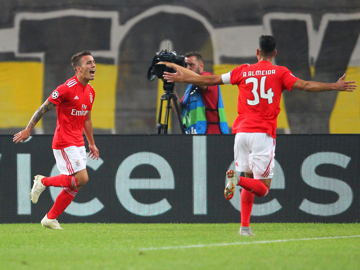 Alex Grimaldo of Benfica celebrates after scoring his team's second goal during the UEFA Champions League match at Olympic Stadium, Athens Picture by Yannis Halas/Focus Images Ltd +353 8725 82019 02/10/2018