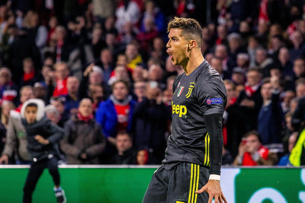 Christina Ronaldo celebrating his goal of Juventus during the first leg of the UEFA Champions League quarter-final match at Amsterdam Arena, Amsterdam Picture by Sjoerd Tullenaar/Focus Images Ltd +31655744888 10/04/2019