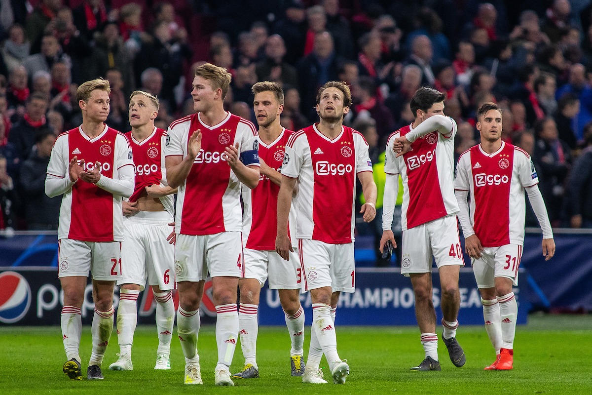 Players Ajax Amsterdam during the first leg of the UEFA Champions League quarter-final match at Amsterdam Arena, Amsterdam Picture by Sjoerd Tullenaar/Focus Images Ltd +31655744888 10/04/2019