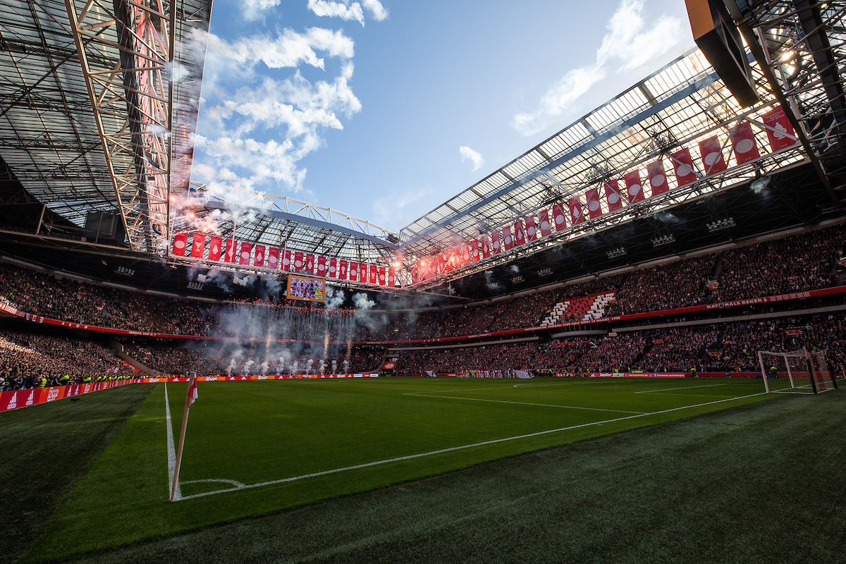 Overview Johan Cruijff Arena fireworks during the Dutch Eredivisie match at Amsterdam Arena, Amsterdam Picture by Sjoerd Tullenaar/Focus Images Ltd +31655744888 31/03/2019