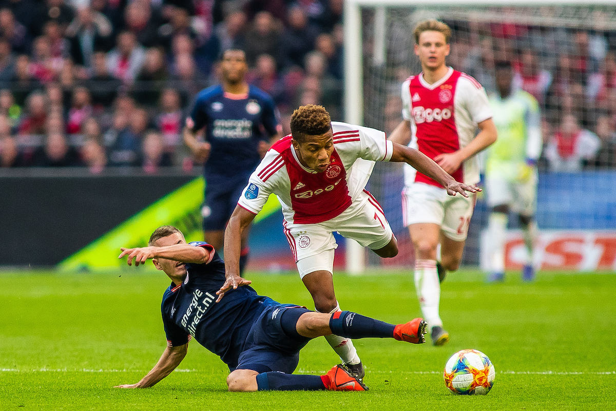 David Neres of Ajax Amsterdam and Michal Sadilek of PSV Eindhoven during the Dutch Eredivisie match at Amsterdam Arena, Amsterdam Picture by Sjoerd Tullenaar/Focus Images Ltd +31655744888 31/03/2019