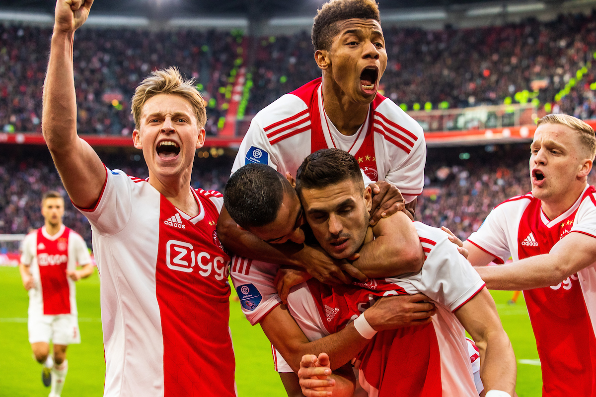 Frankie de Jong, David Neres, Hakim Ziyech, Dusan Tadic, Donny van de Beek of Ajax Amsterdam during the Dutch Eredivisie match at Amsterdam Arena, Amsterdam Picture by Sjoerd Tullenaar/Focus Images Ltd +31655744888 31/03/2019