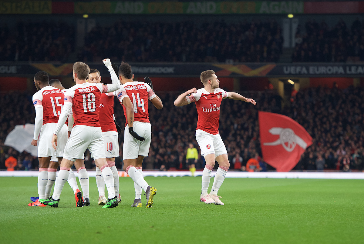 Aaron Ramsey of Arsenal (right) celebrates after scoring  the opening goal during the first leg of the UEFA Europa League quarter-final match at the Emirates Stadium, London Picture by Alan Stanford/Focus Images Ltd +44 7915 056117 11/04/2019