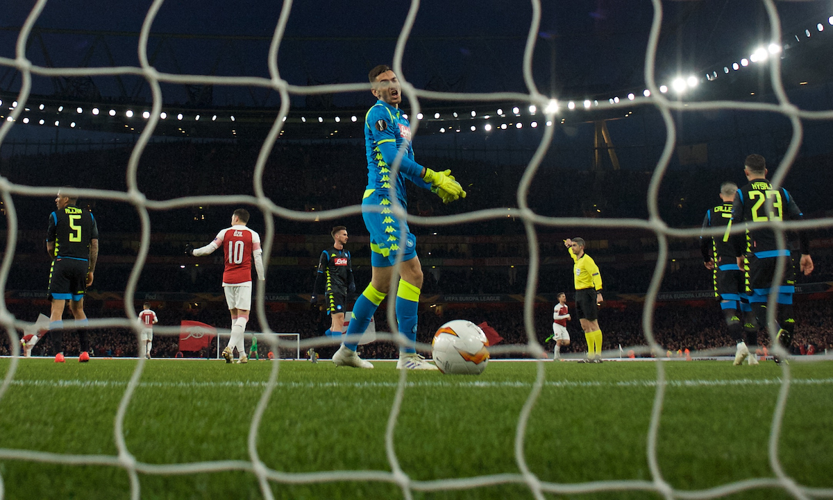 Alex Meret goalkeeper of Napoli shows his frustration after conceding a second goal during the first leg of the UEFA Europa League quarter-final match at the Emirates Stadium, London Picture by Alan Stanford/Focus Images Ltd +44 7915 056117 11/04/2019