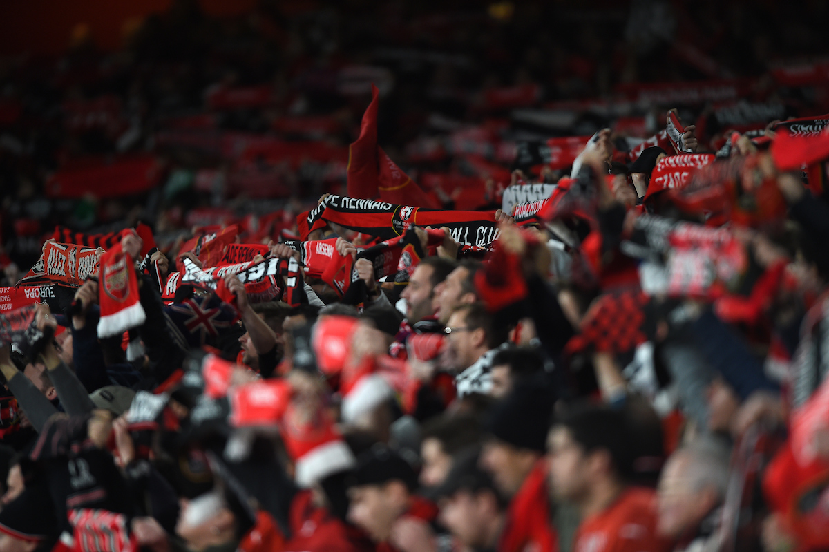 Rennes fans during the UEFA Europa League match at the Emirates Stadium, London Picture by Daniel Hambury/Focus Images Ltd 07813022858 14/03/2019