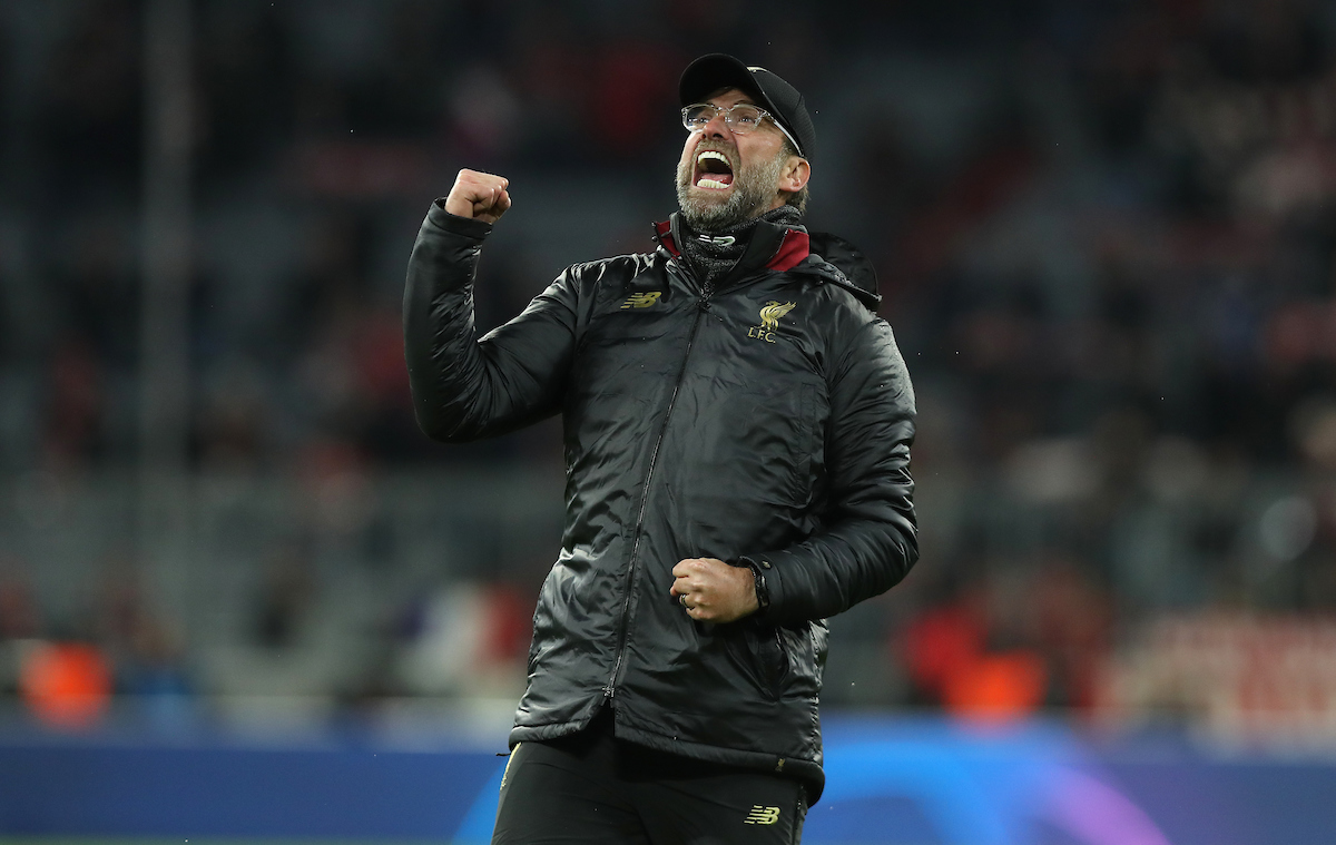 Jurgen Klopp, manager of Liverpool reacts at full time during the UEFA Champions League match at Allianz Arena, Munich Picture by Focus Images/Focus Images Ltd 07814 482222 13/03/2019