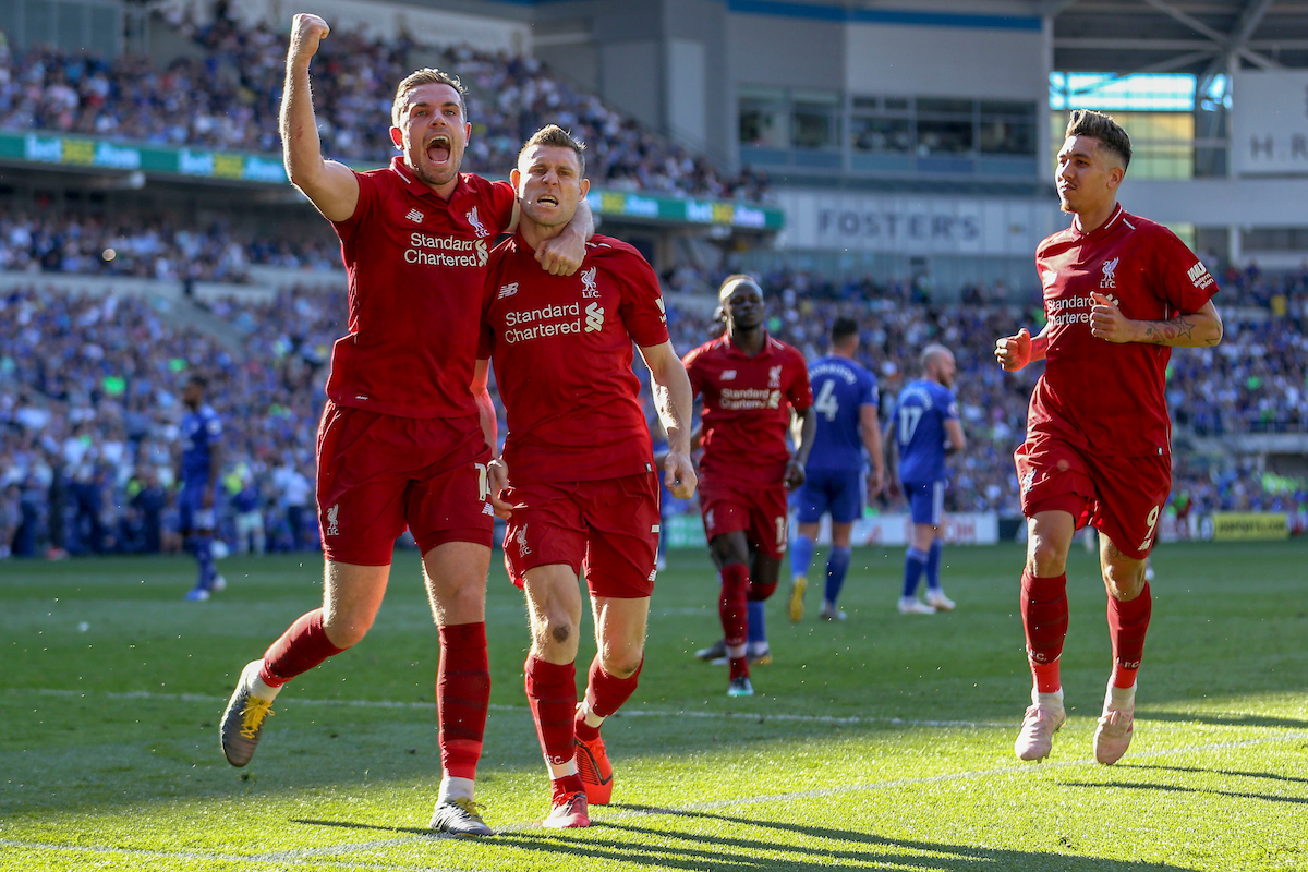 James Milner and Jordan Henderson of Liverpool celebrating their second goal during the Premier League match at the Cardiff City Stadium, Cardiff Picture by Matthew Lofthouse/Focus Images Ltd 07703 390510 21/04/2019