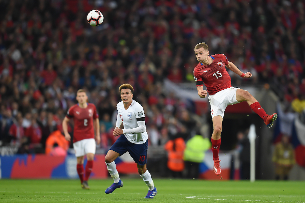 TomᚠSou?ek of Czech Republic heads during the UEFA Euro 2020 Qualifiers match at Wembley Stadium, London Picture by Martyn Haworth/Focus Images Ltd 07463250714 22/03/2019